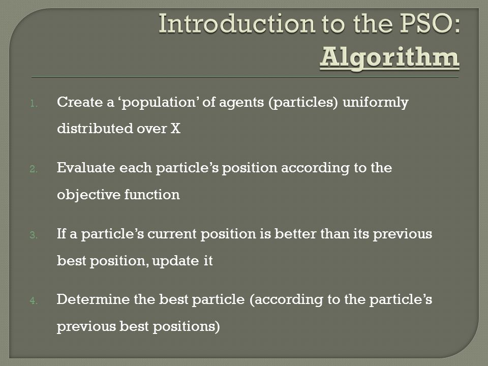 Introduction to the PSO: Algorithm