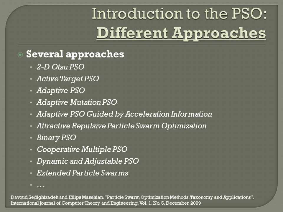 Introduction to the PSO: Different Approaches