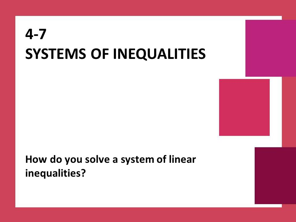4-7 Systems of Inequalities