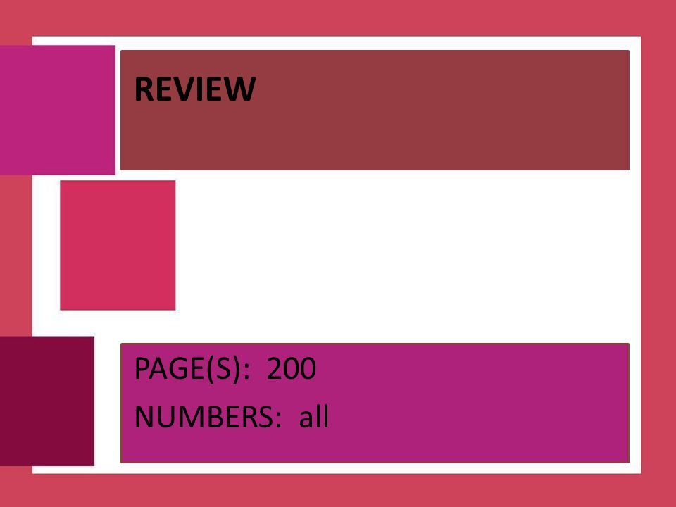 REVIEW PAGE(S): 200 NUMBERS: all