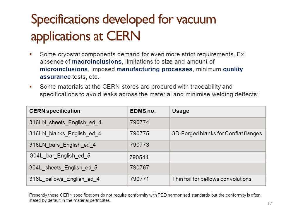 Specifications developed for vacuum applications at CERN
