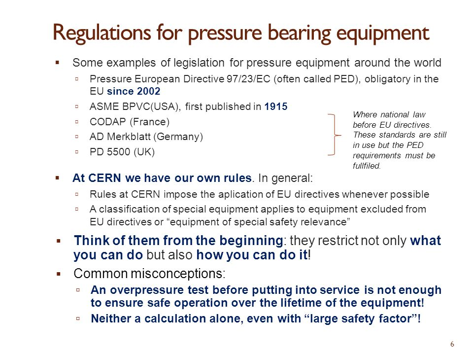 Regulations for pressure bearing equipment