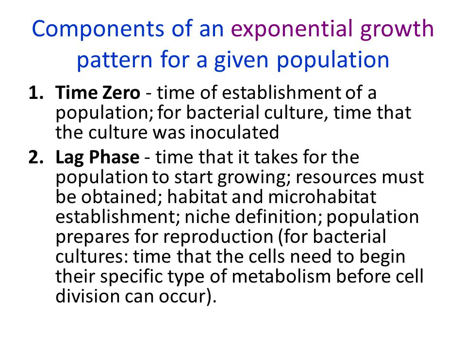 Components of an exponential growth pattern for a given population