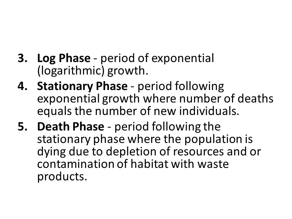Log Phase - period of exponential (logarithmic) growth.