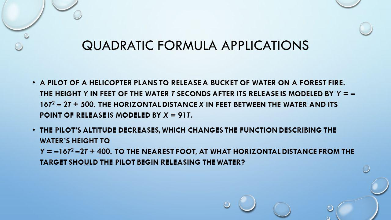 Quadratic formula applications