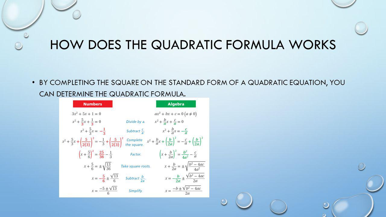 How does the quadratic formula works