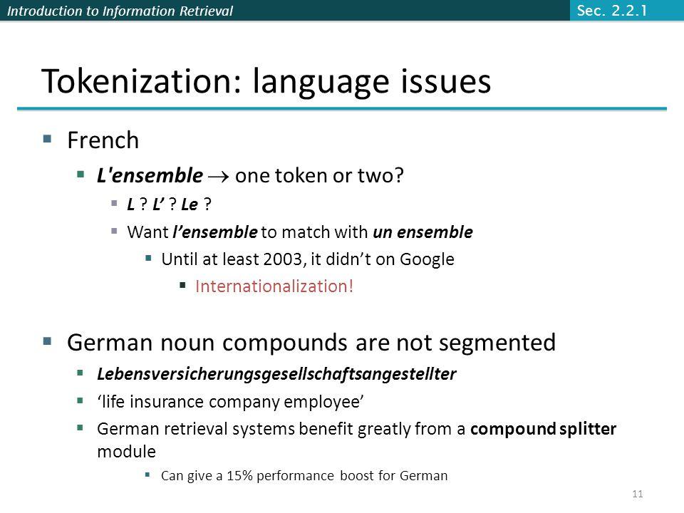 Tokenization: language issues