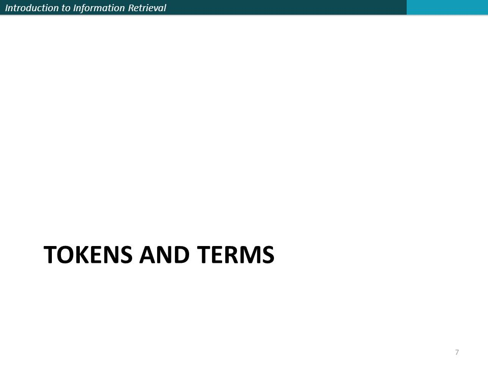Tokens and Terms