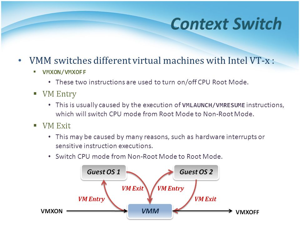 Context Switch VMM switches different virtual machines with Intel VT-x : VMXON/VMXOFF.
