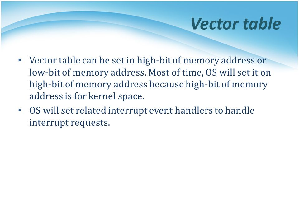Vector table