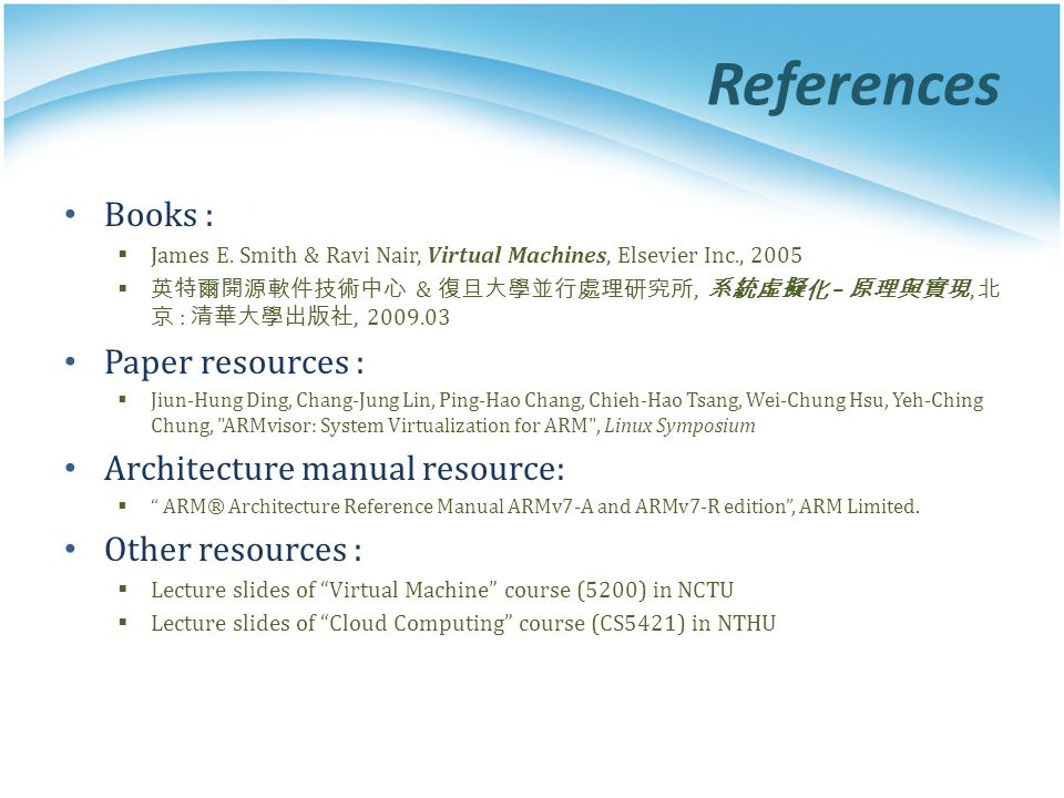 References Books : Paper resources : Architecture manual resource: