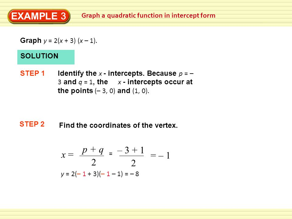 EXAMPLE 3 Graph a quadratic function in intercept form. Graph y = 2(x + 3) (x – 1). SOLUTION. STEP 1.