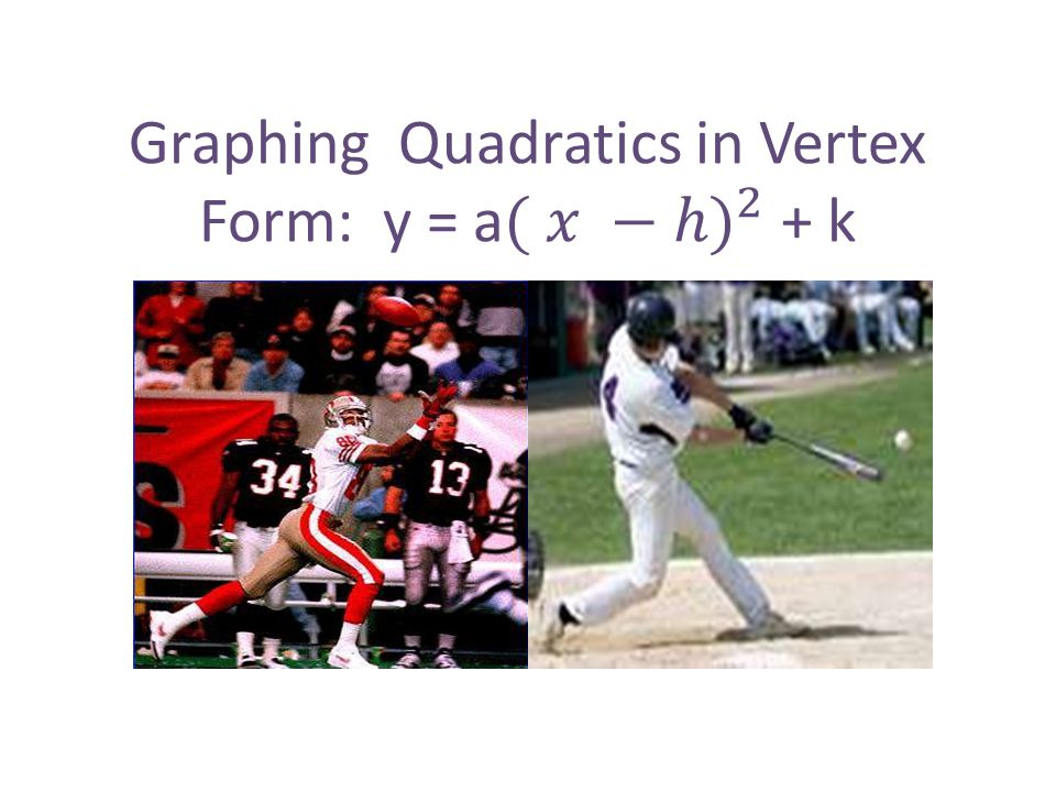 Graphing Quadratics in Vertex Form: y = a ( 𝑥 −ℎ) 2 + k