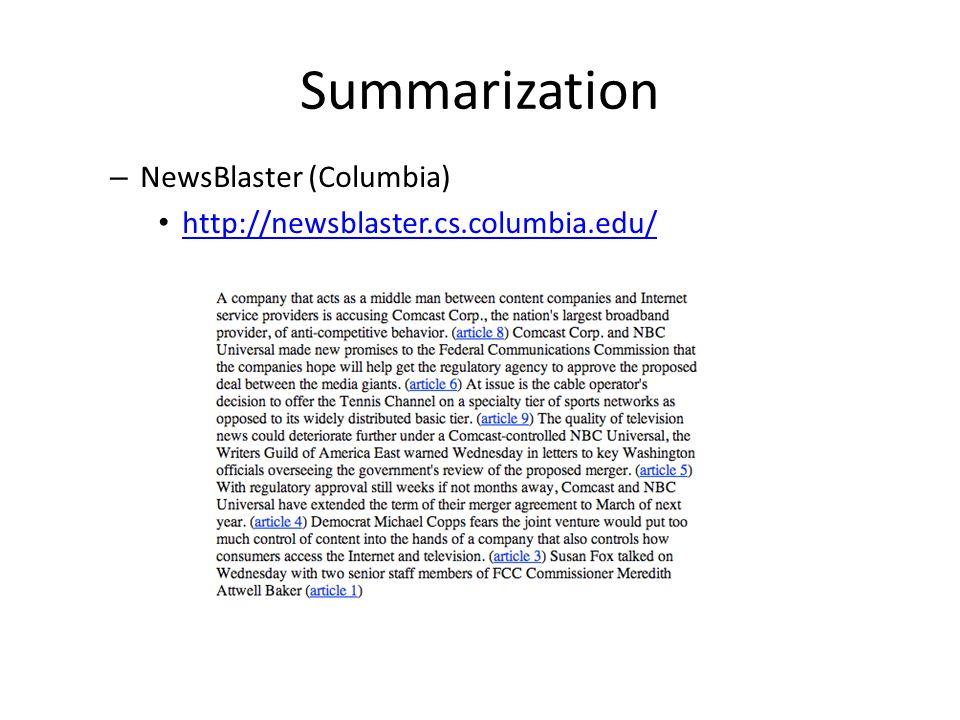 Summarization NewsBlaster (Columbia)