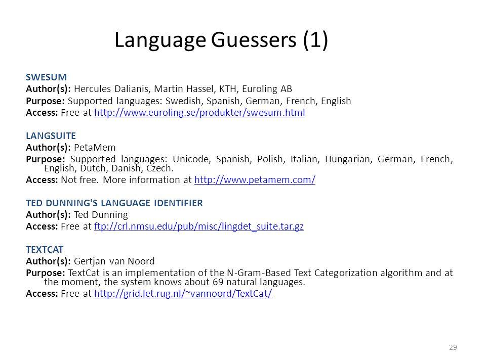 Language Guessers (1) SWESUM