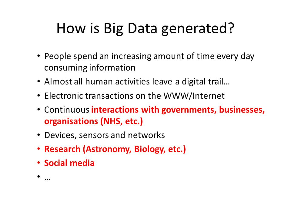 How is Big Data generated