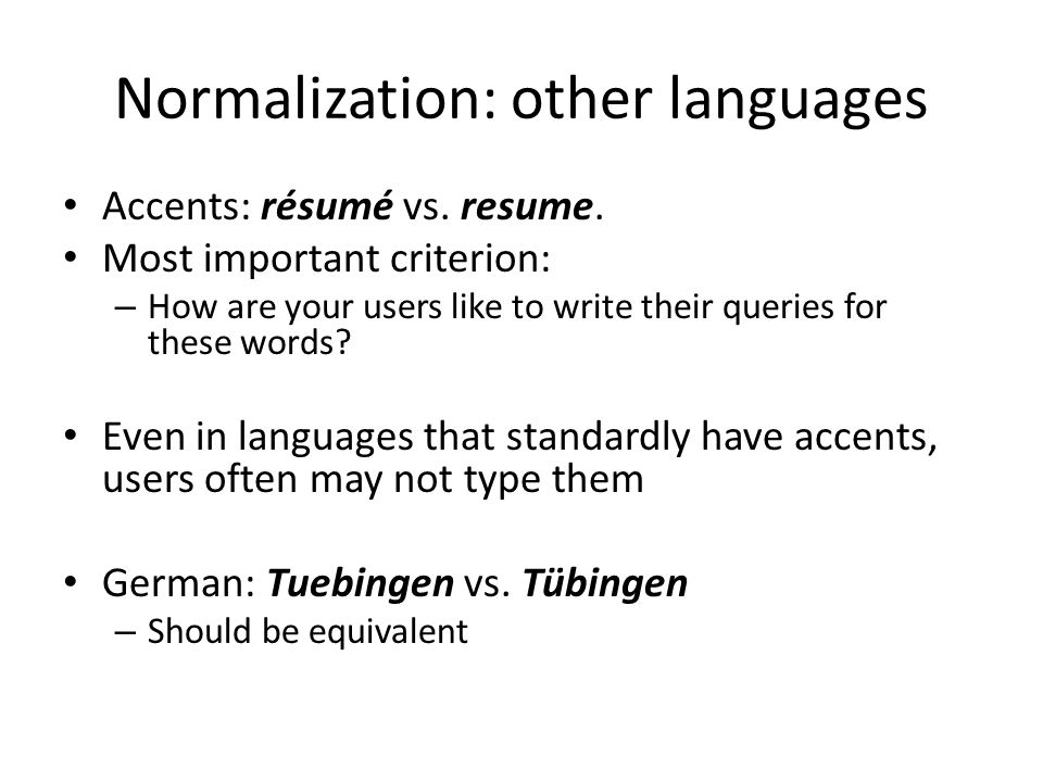 Normalization: other languages