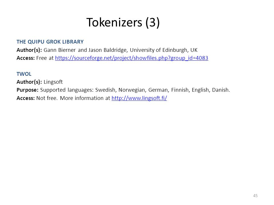 Tokenizers (3) THE QUIPU GROK LIBRARY