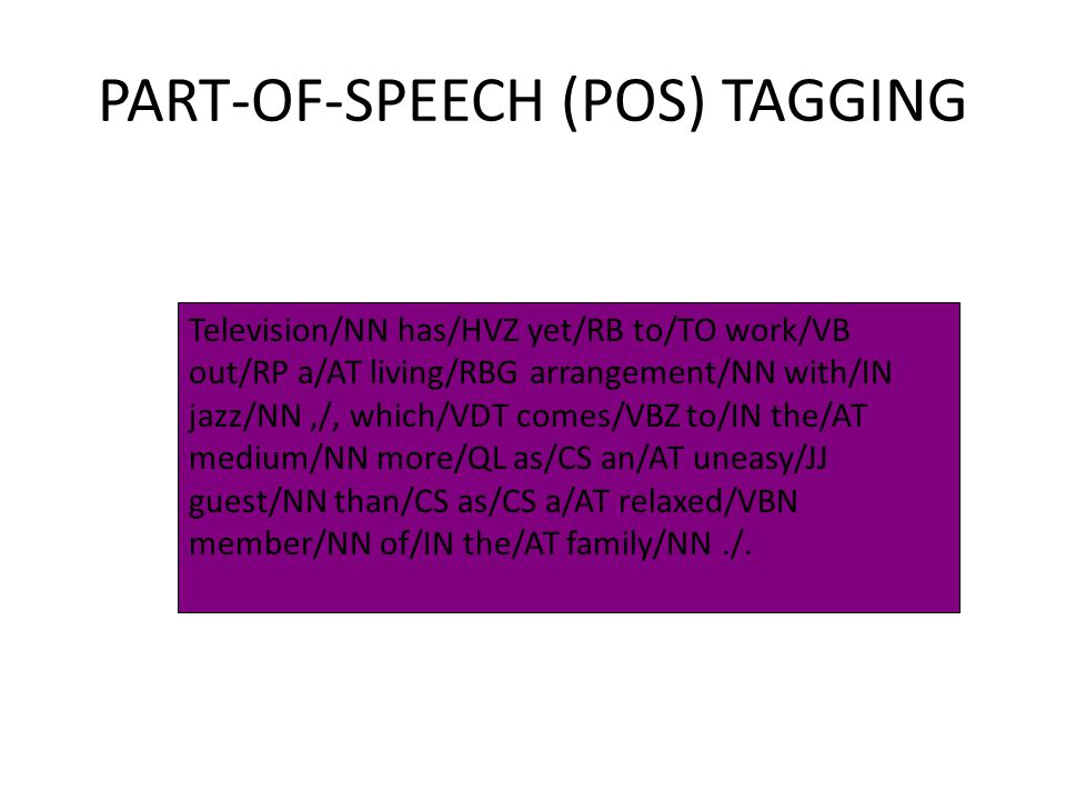 PART-OF-SPEECH (POS) TAGGING