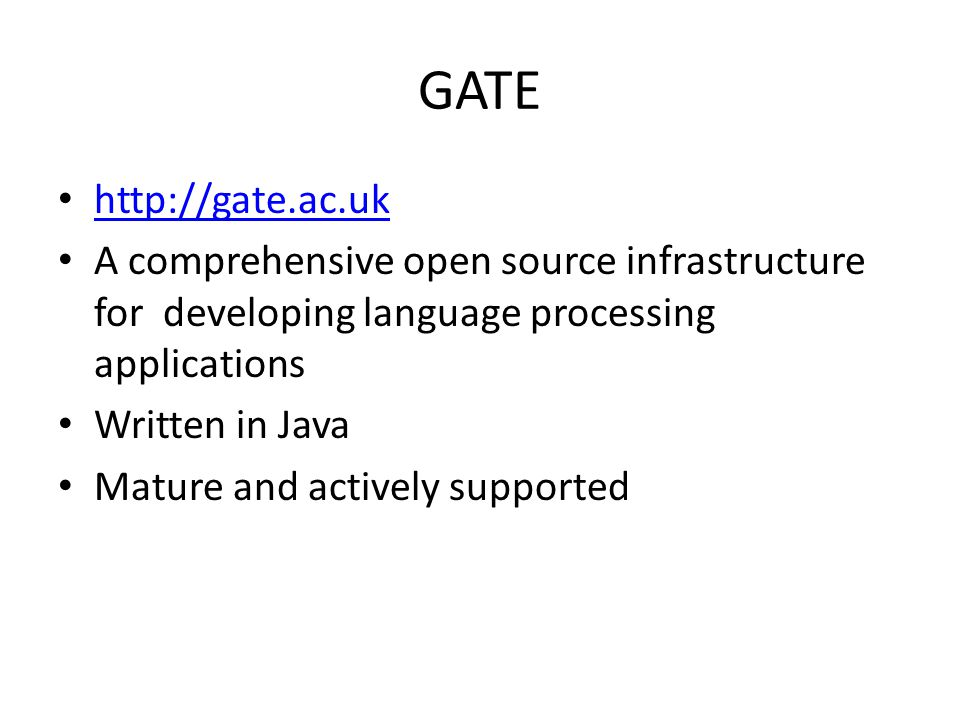 GATE http://gate.ac.uk. A comprehensive open source infrastructure for developing language processing applications.