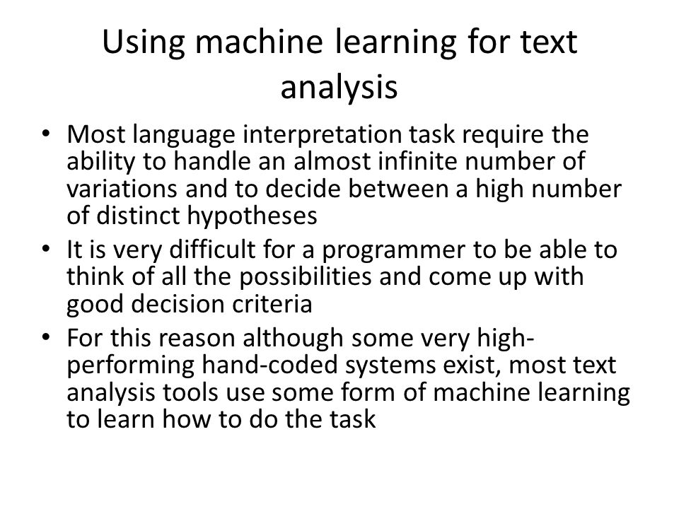 Using machine learning for text analysis