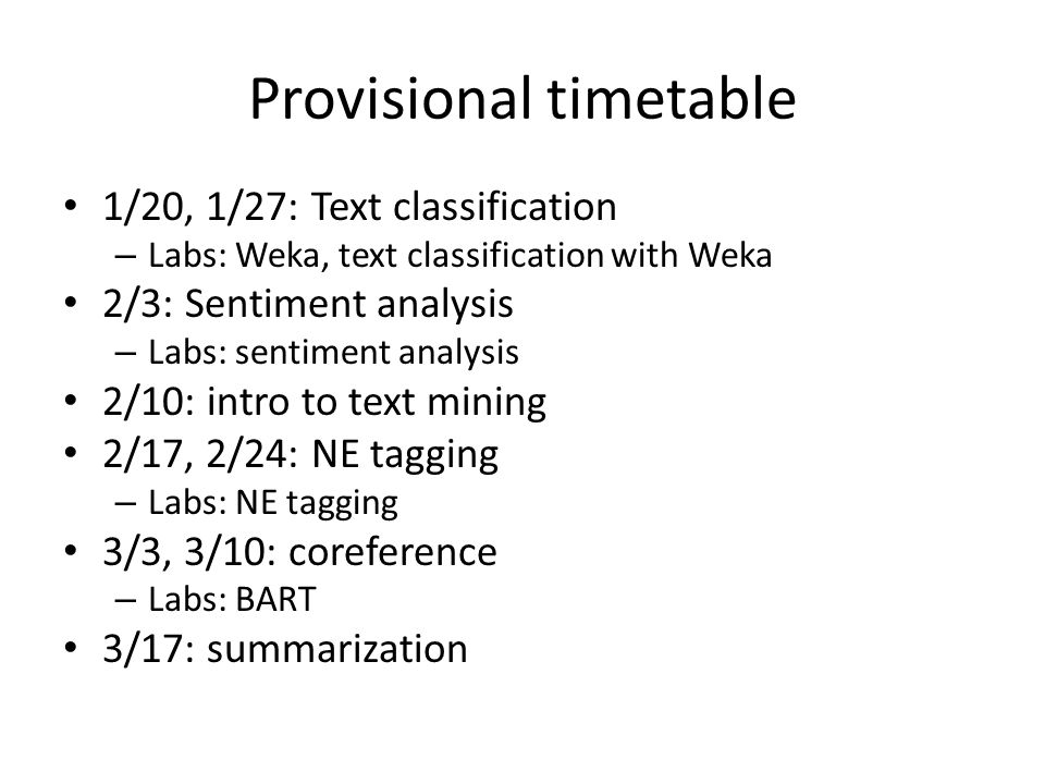Provisional timetable