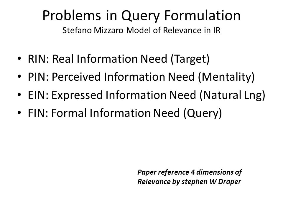 Problems in Query Formulation Stefano Mizzaro Model of Relevance in IR