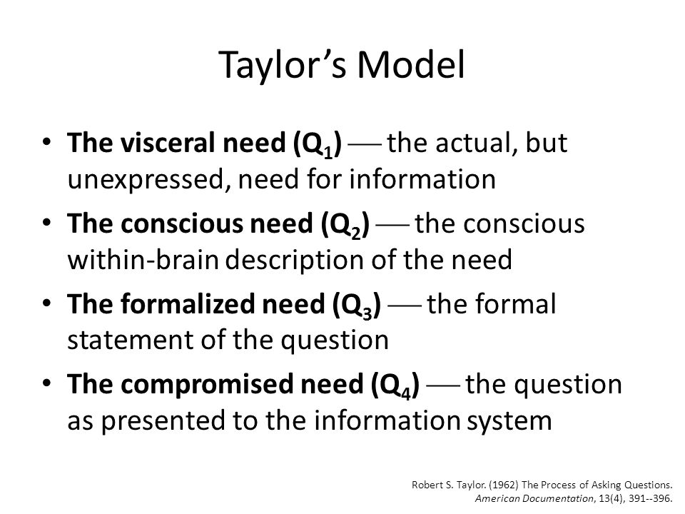 Taylor's Model The visceral need (Q1)  the actual, but unexpressed, need for information.