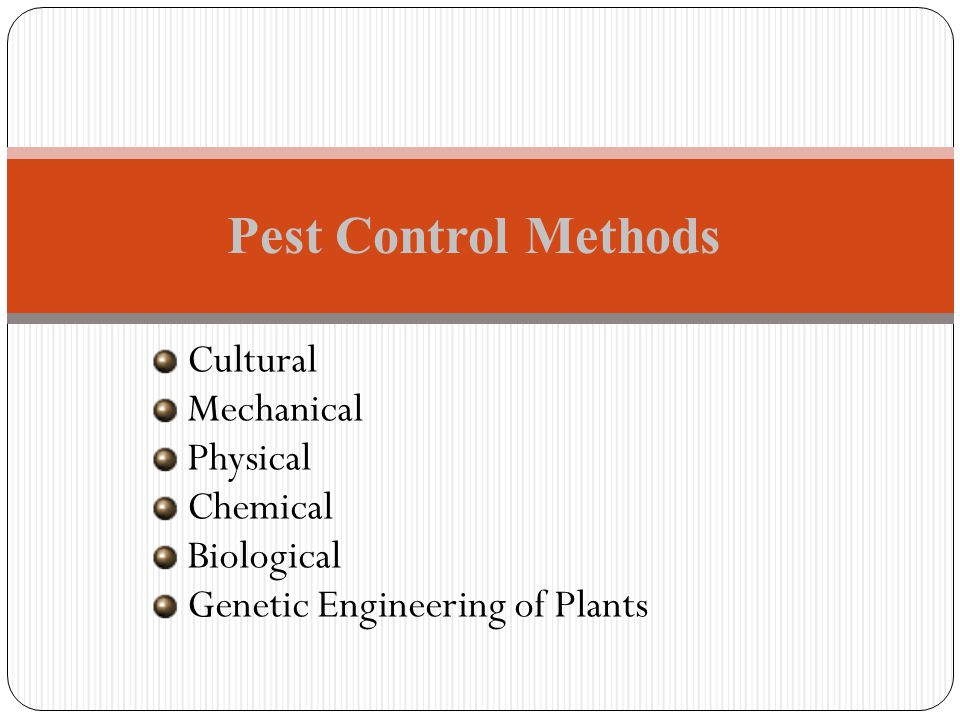 Pest Control Methods Cultural Mechanical Physical Chemical Biological
