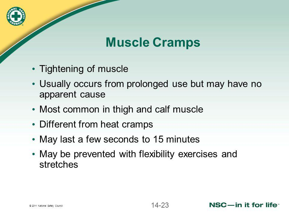 Muscle Cramps Tightening of muscle