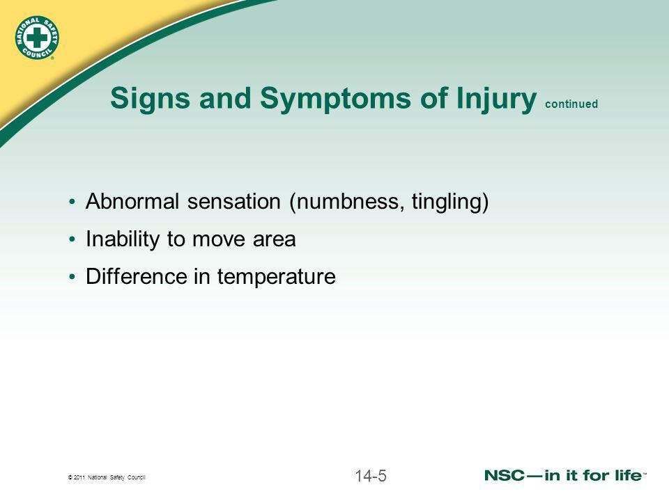 Signs and Symptoms of Injury continued