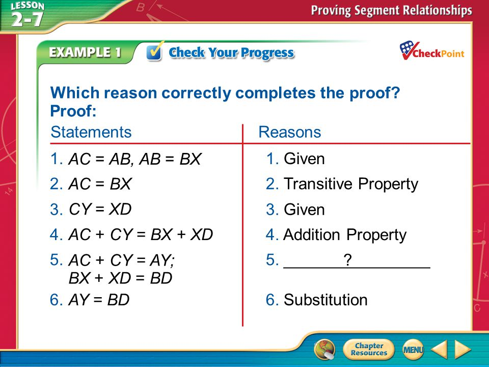 Which reason correctly completes the proof