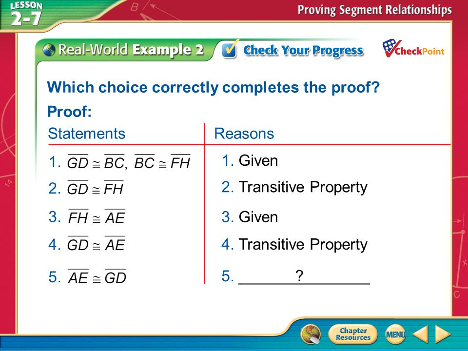 Which choice correctly completes the proof Proof: