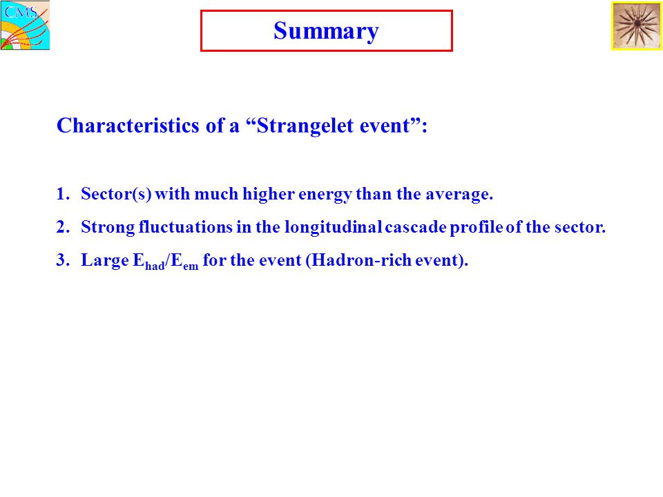 Summary Characteristics of a Strangelet event :