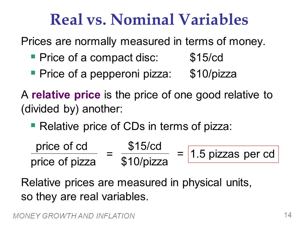 Real vs. Nominal Wage An important relative price is the real wage: