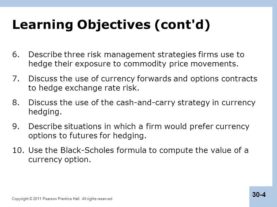 Futures and options hedging strategies