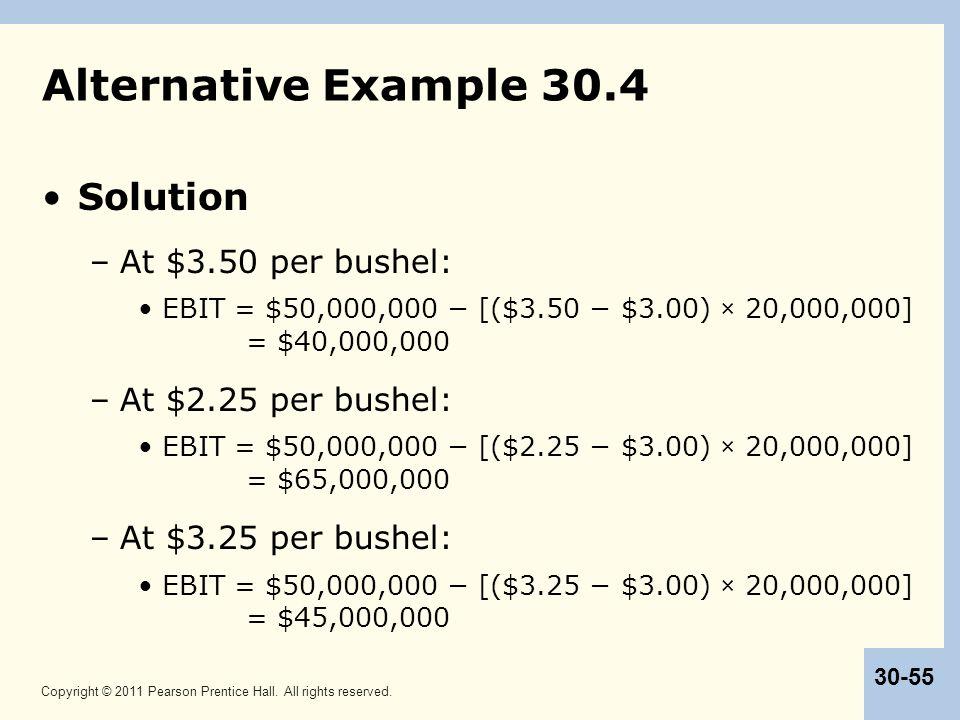Alternative Example 30.4 Solution At $3.50 per bushel: