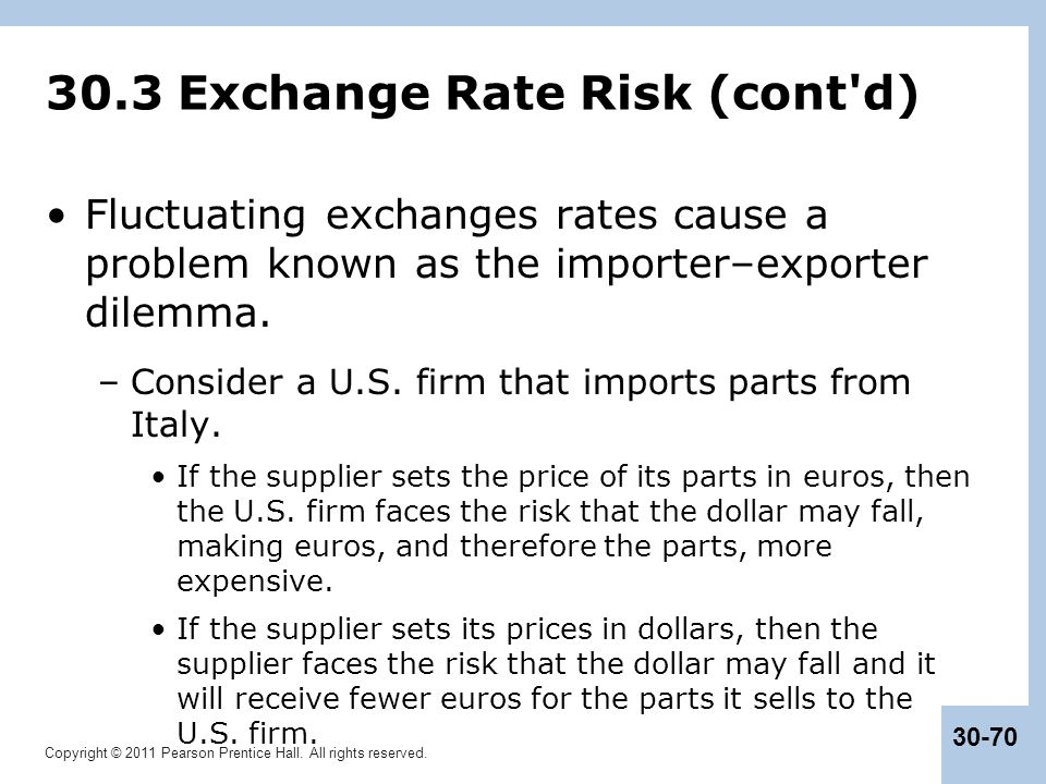 30.3 Exchange Rate Risk (cont d)