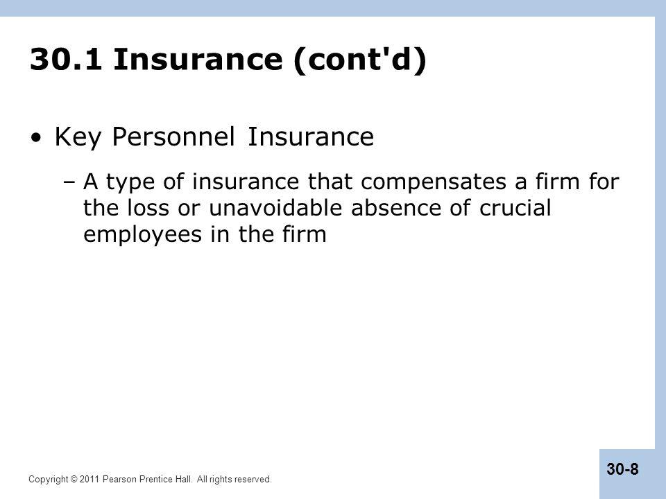 30.1 Insurance (cont d) Key Personnel Insurance