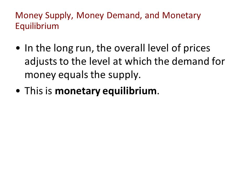 Money Supply, Money Demand, and Monetary Equilibrium