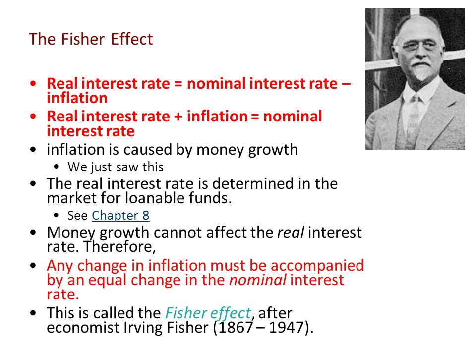 The Fisher Effect Real interest rate = nominal interest rate – inflation. Real interest rate + inflation = nominal interest rate.
