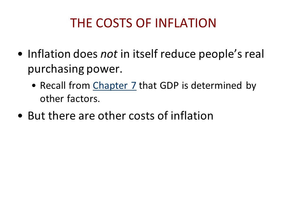 THE COSTS OF INFLATION Inflation does not in itself reduce people's real purchasing power.