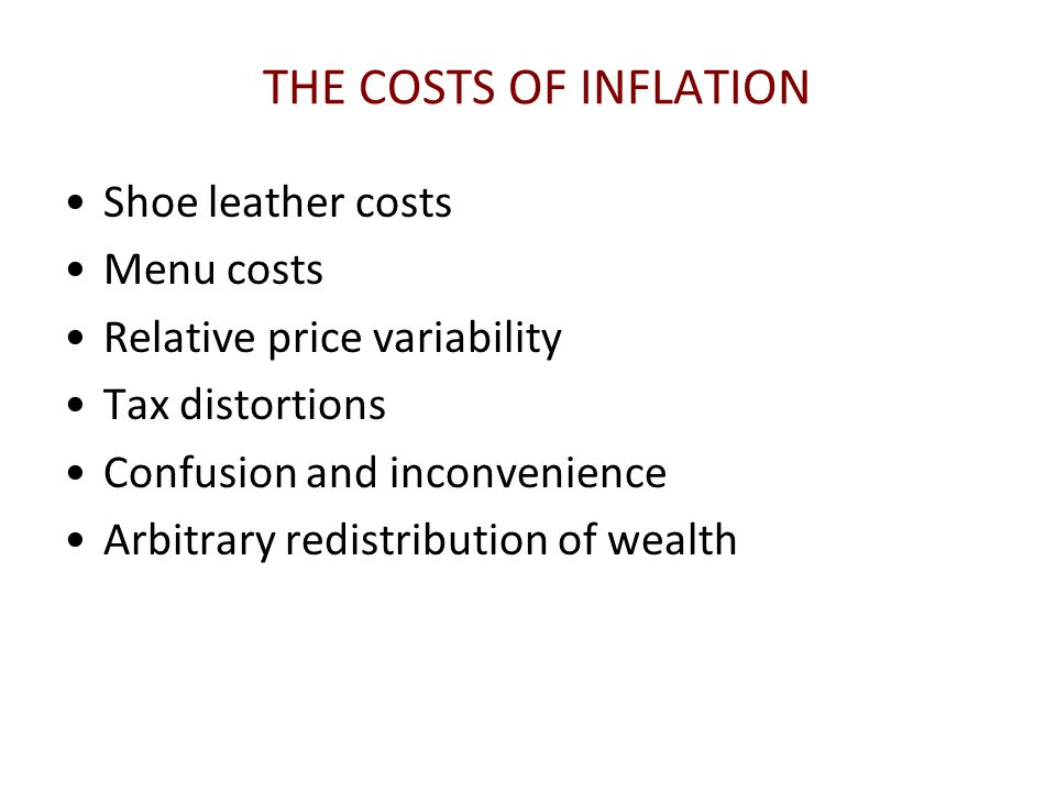 THE COSTS OF INFLATION Shoe leather costs Menu costs
