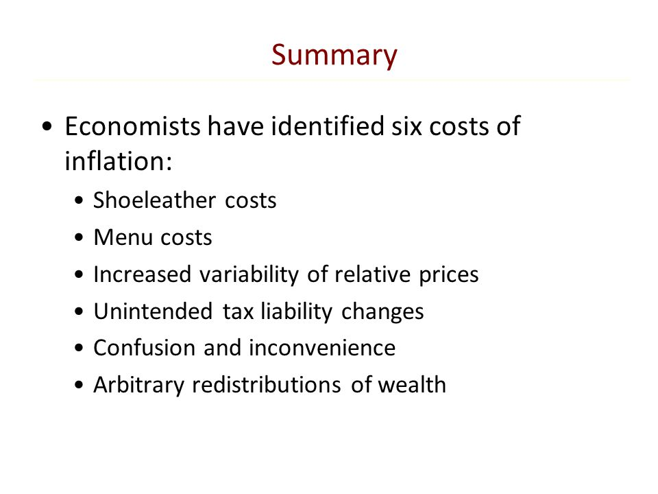 Summary Economists have identified six costs of inflation:
