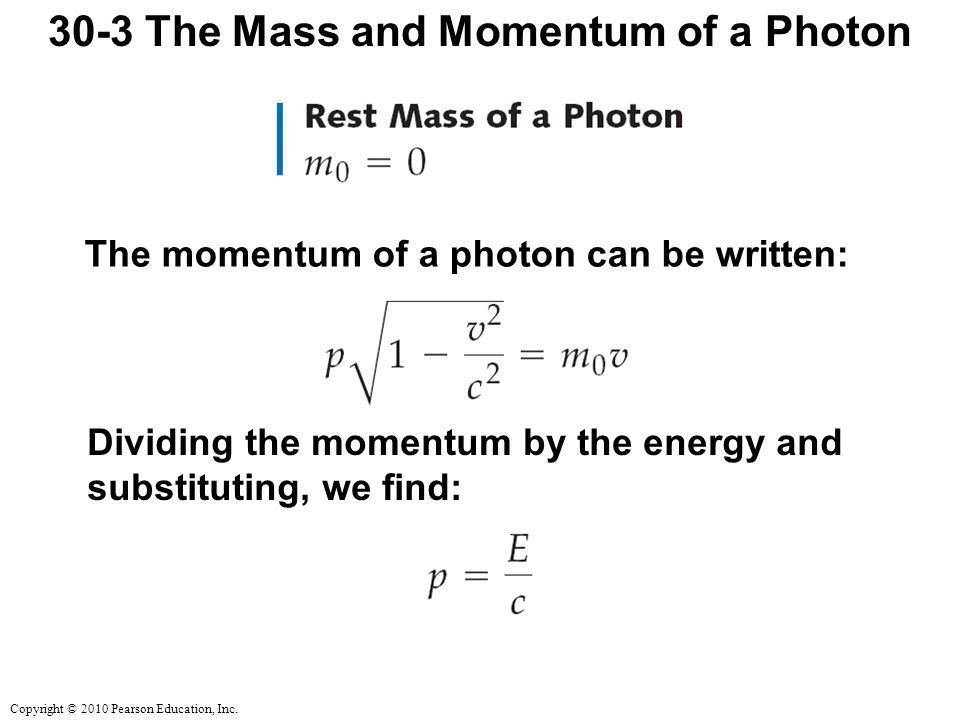 30-3 The Mass and Momentum of a Photon