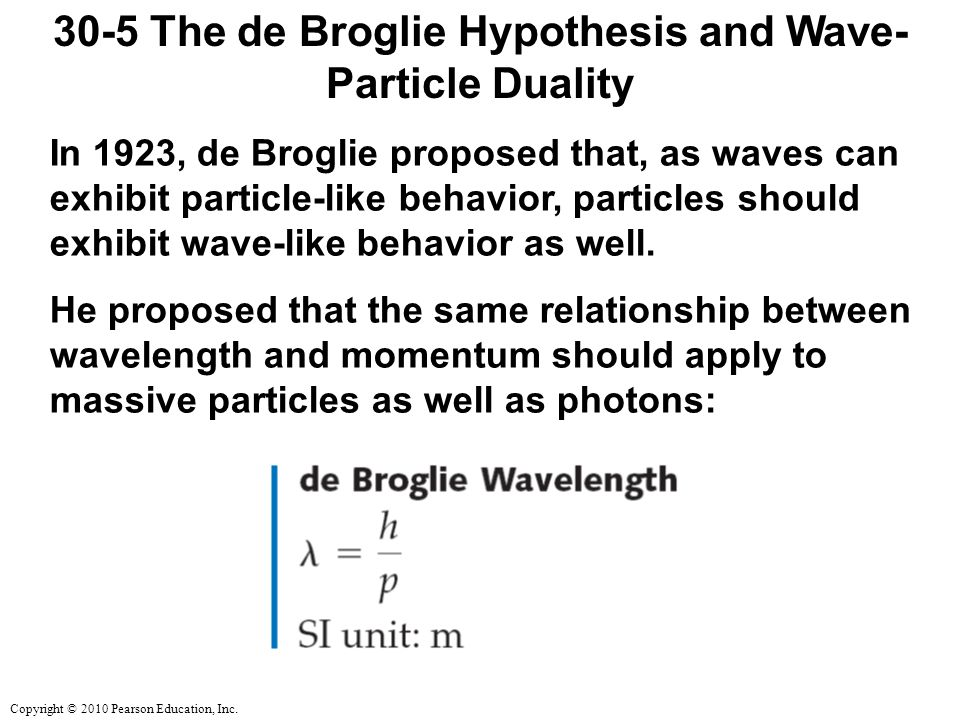 30-5 The de Broglie Hypothesis and Wave-Particle Duality