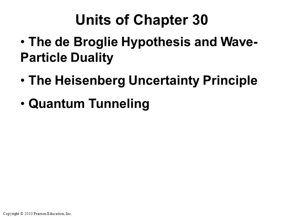 Units of Chapter 30 The de Broglie Hypothesis and Wave-Particle Duality. The Heisenberg Uncertainty Principle.