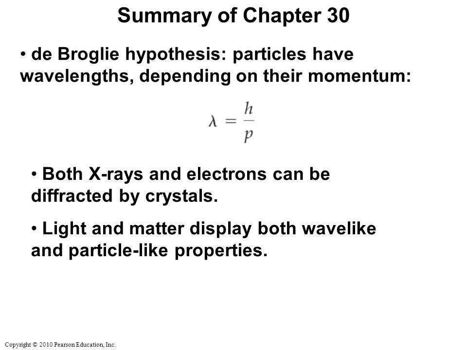 Summary of Chapter 30 de Broglie hypothesis: particles have wavelengths, depending on their momentum:
