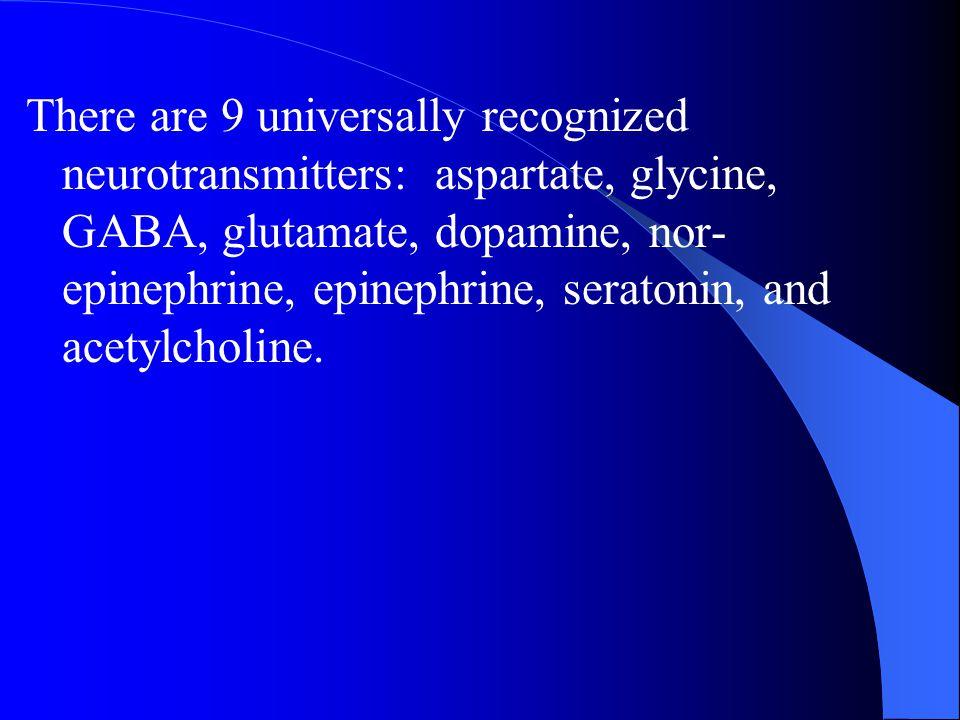 There are 9 universally recognized neurotransmitters: aspartate, glycine, GABA, glutamate, dopamine, nor-epinephrine, epinephrine, seratonin, and acetylcholine.