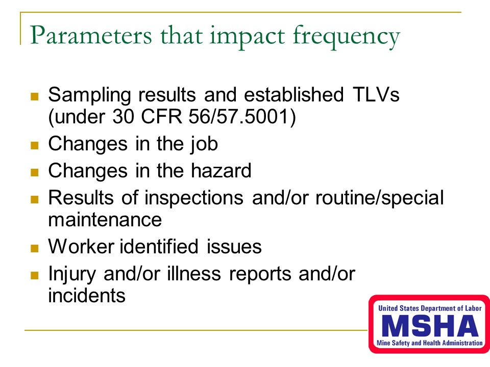 Parameters that impact frequency